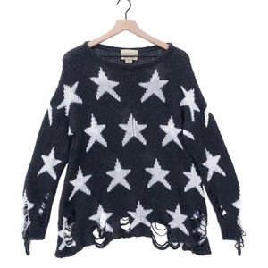 Wildfox White Label Distressed Star Sweater XS